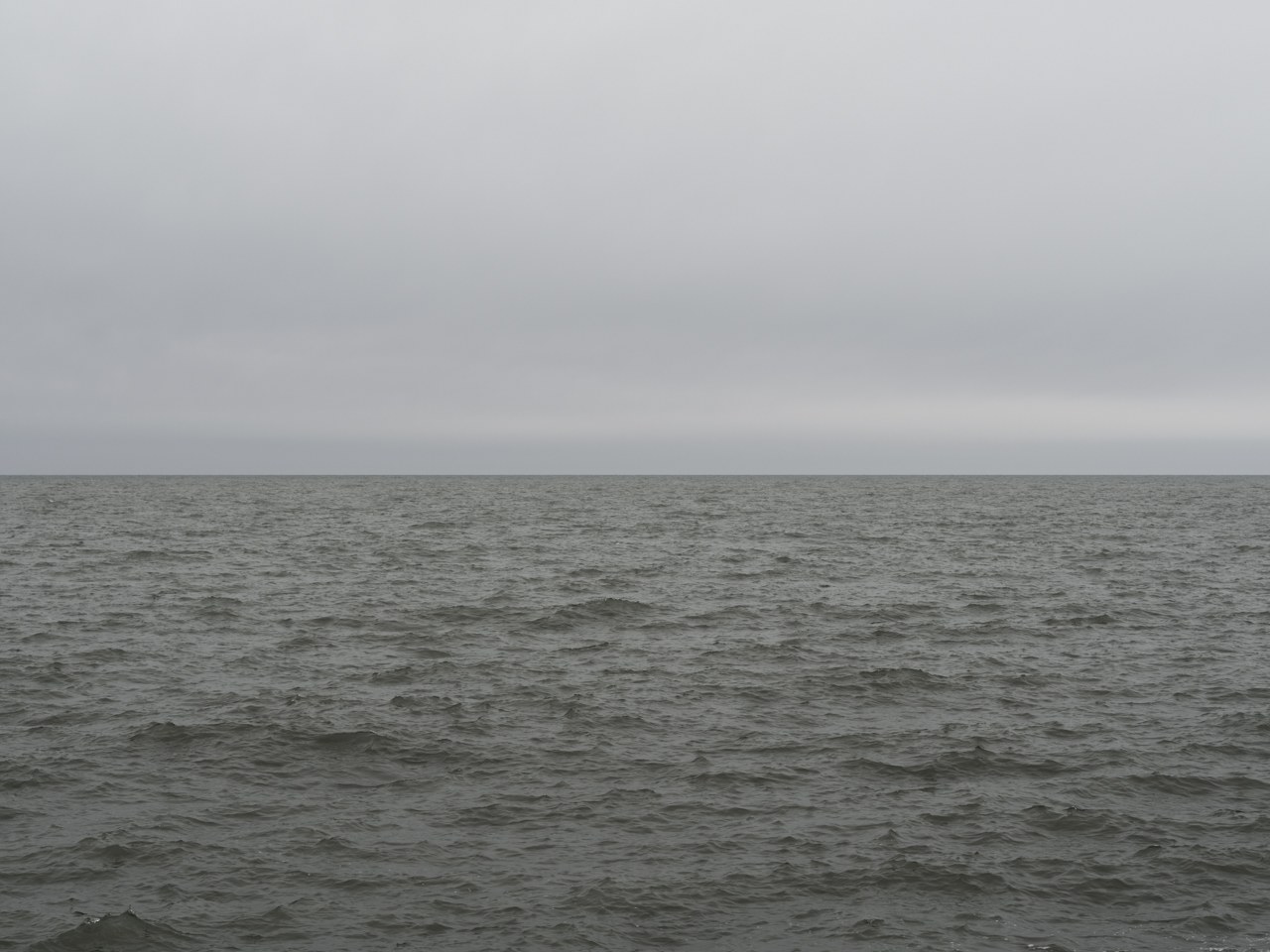 gray and green day on Lake Michigan with water and sky bisecting