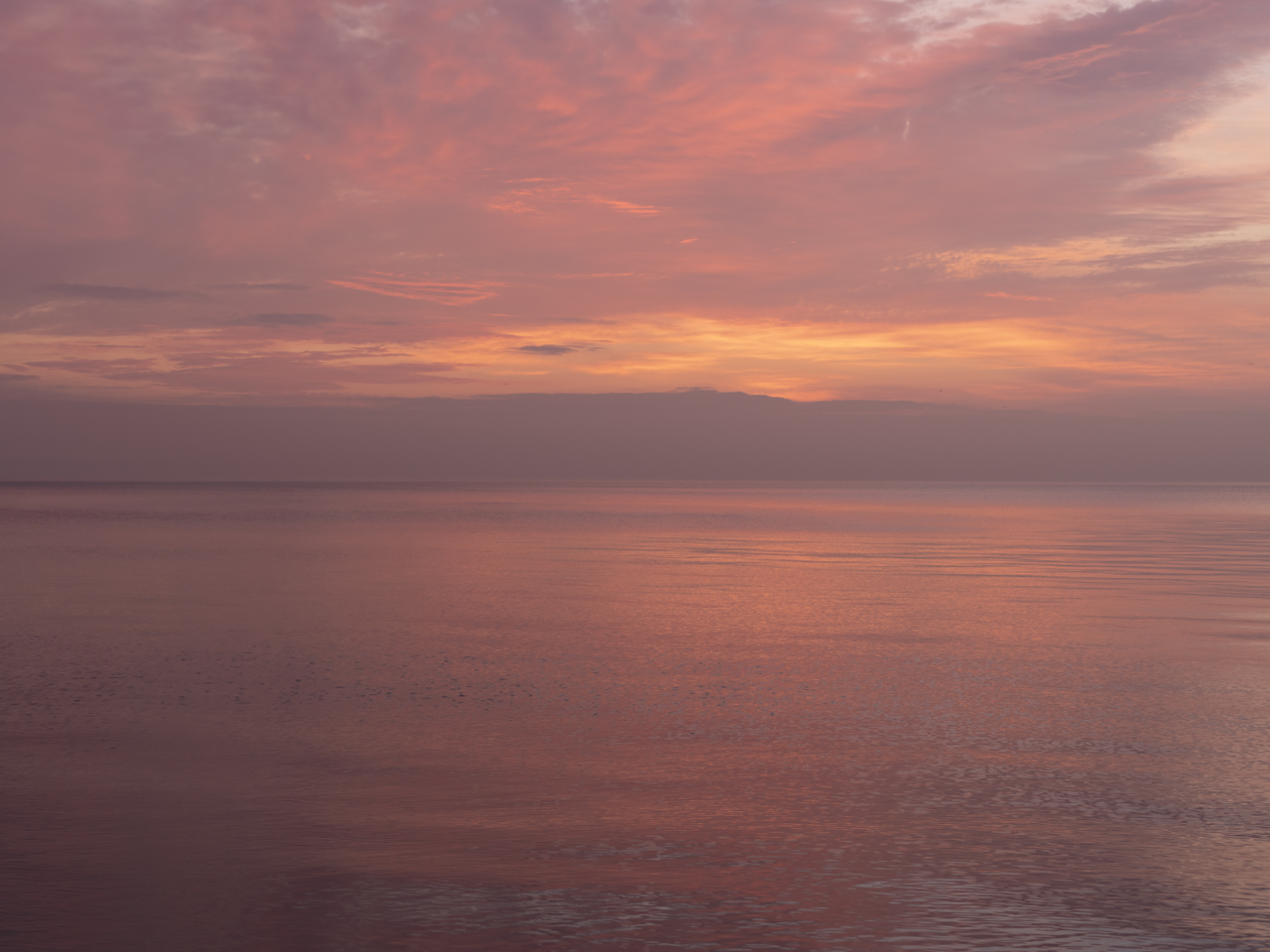 pastel morning on Lake Michigan, the sky and water are the same
