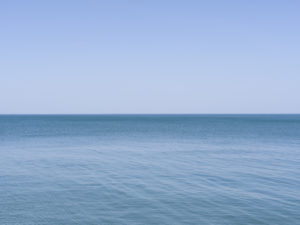 from the Lake Series June 2020, a light blue sky with light blue lake waters underneath