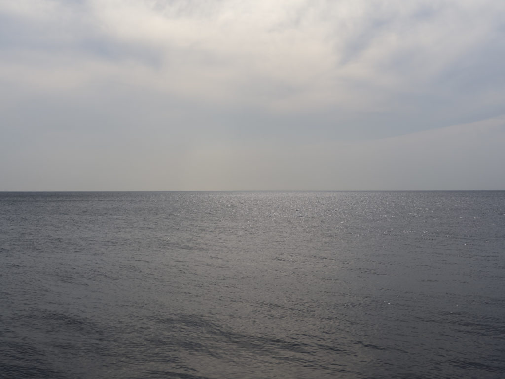 gray water with a cloudy sky on Lake Michigan