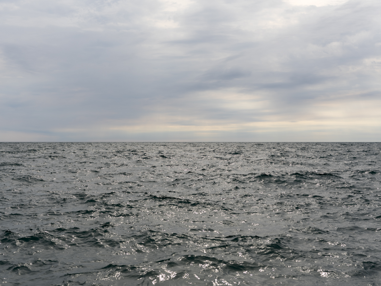 gray greens in choppy water while a cloudy sky has a mixture of pastel and blue tones smearing together