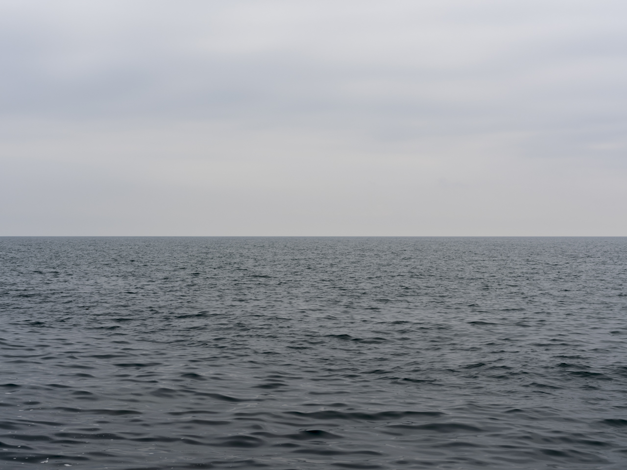 a flat gray sky and lake with low light