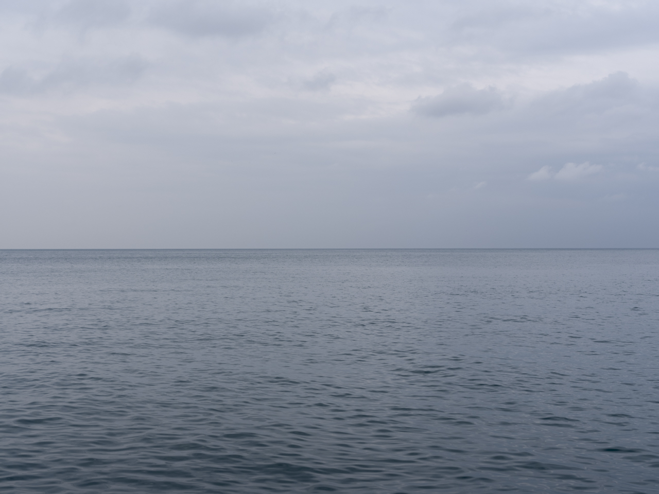 Lake Michigan on a gray and still day