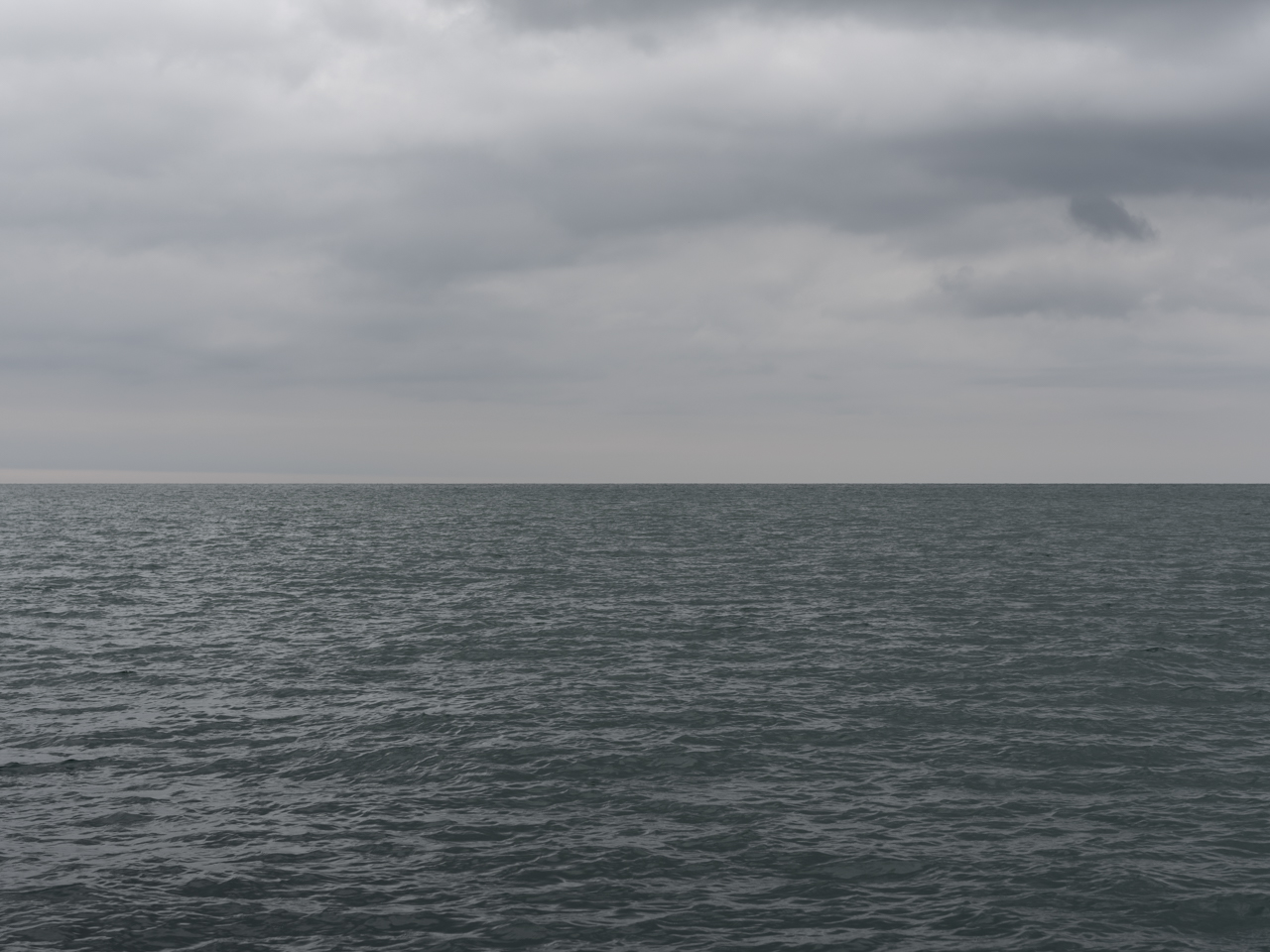 a gray day with low light over Lake Michigan