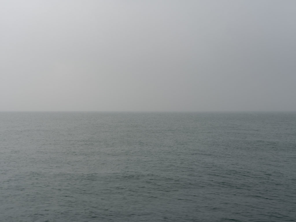 hazy morning with gray light over Lake Michigan