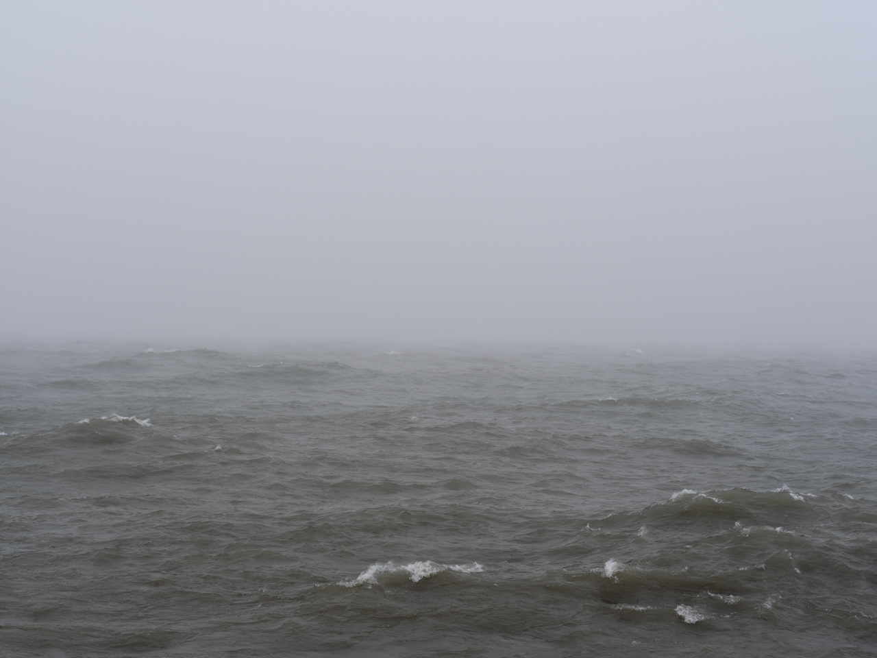 gray fog over a brown and green Lake Michigan with white caps