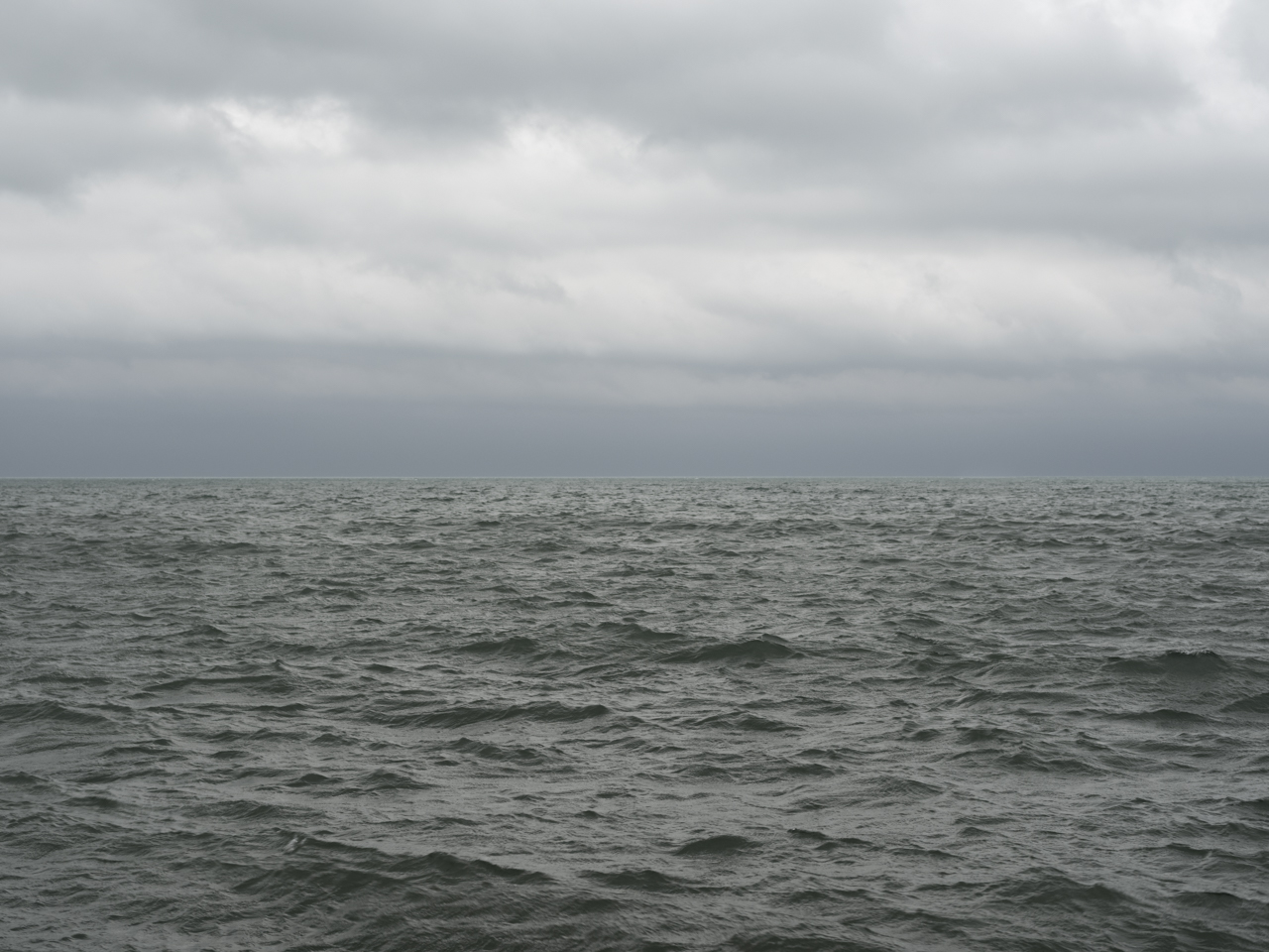 moderate dark green waves with a cloudy gray sky