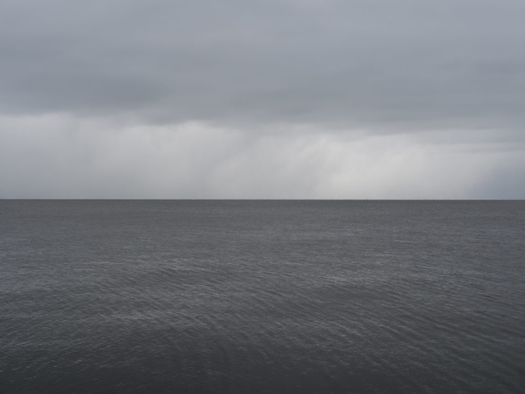 sharp horizon on a steely gray day on Lake Michigan