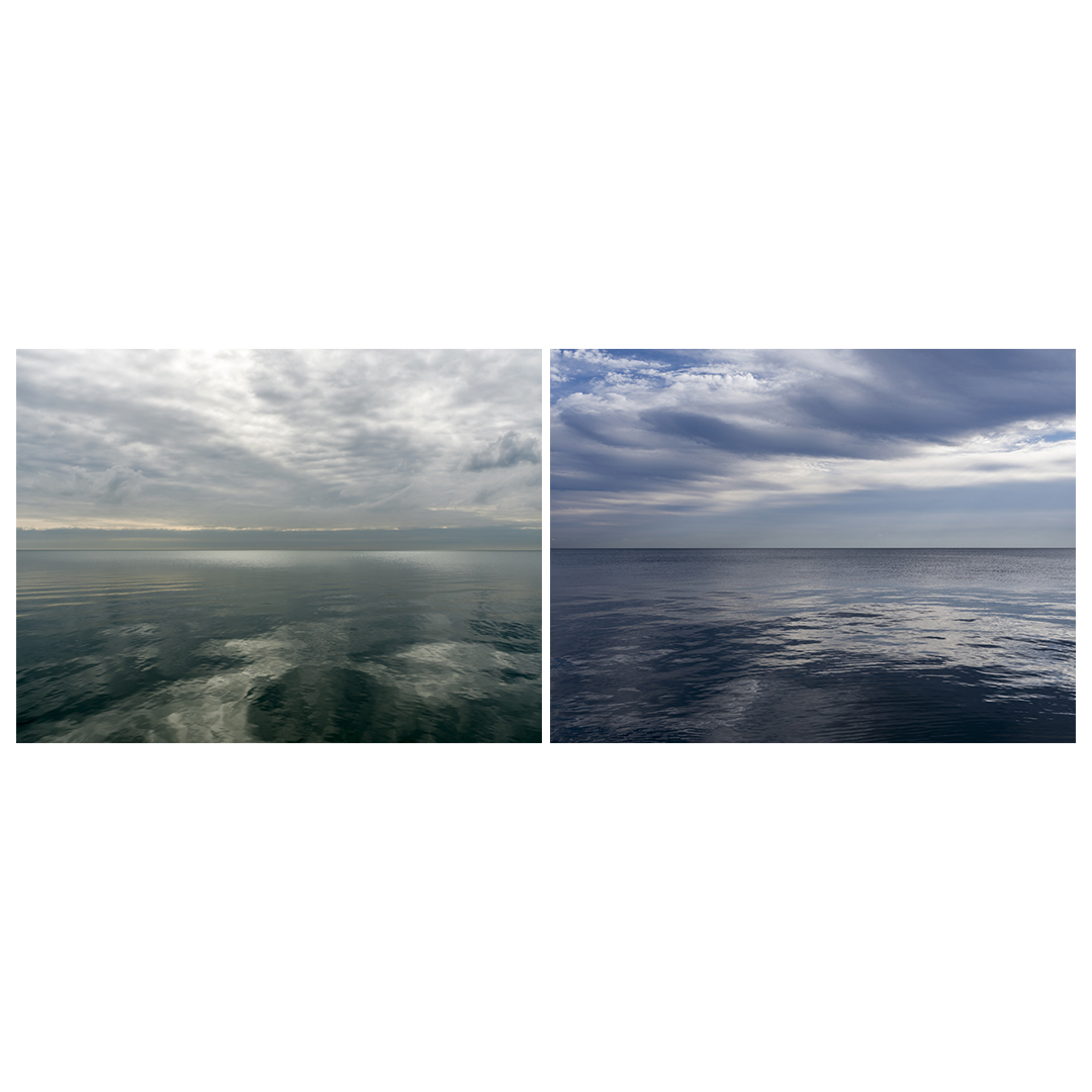 on the left side of this pairing is a green and gray mirrorlike day on Lake Michigan, while a blue day with dramatic sweeping clouds sit over a blue mirror-like lake