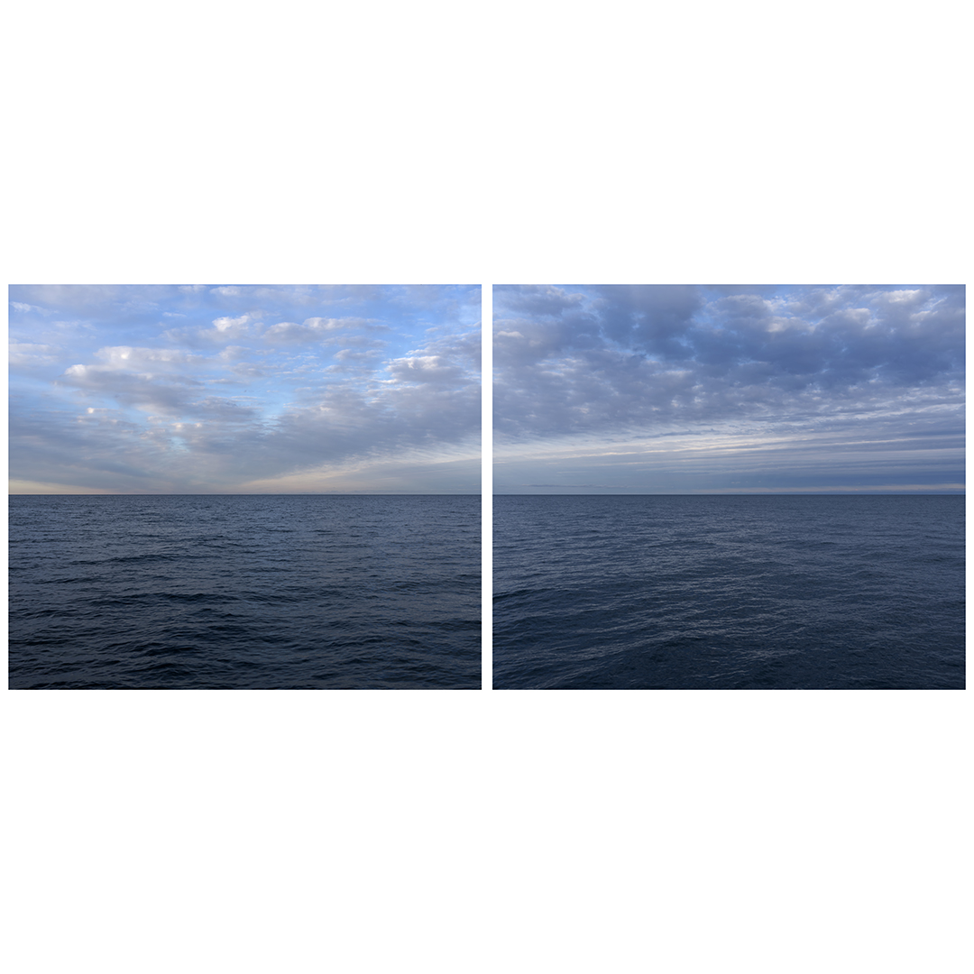 A diptych with clouds that radiate from the horizon like spokes on a bike wheel, rippling across the sky over Lake Michigan