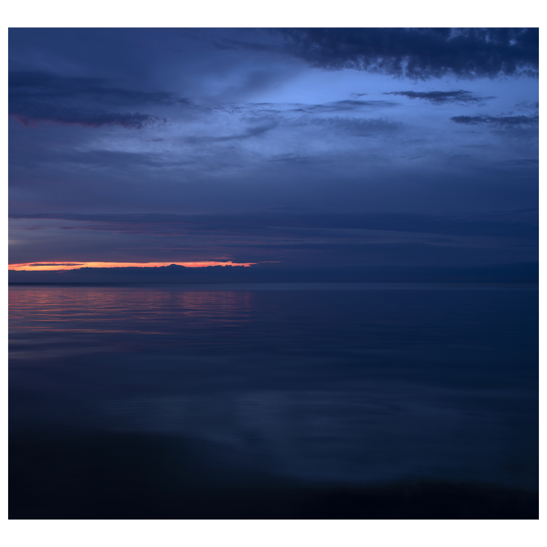 Lake Series Panoramas, May 5th 2016, is a diptych of Lake Michigan as the sun begins to rise early in the morning. This is the second panel.