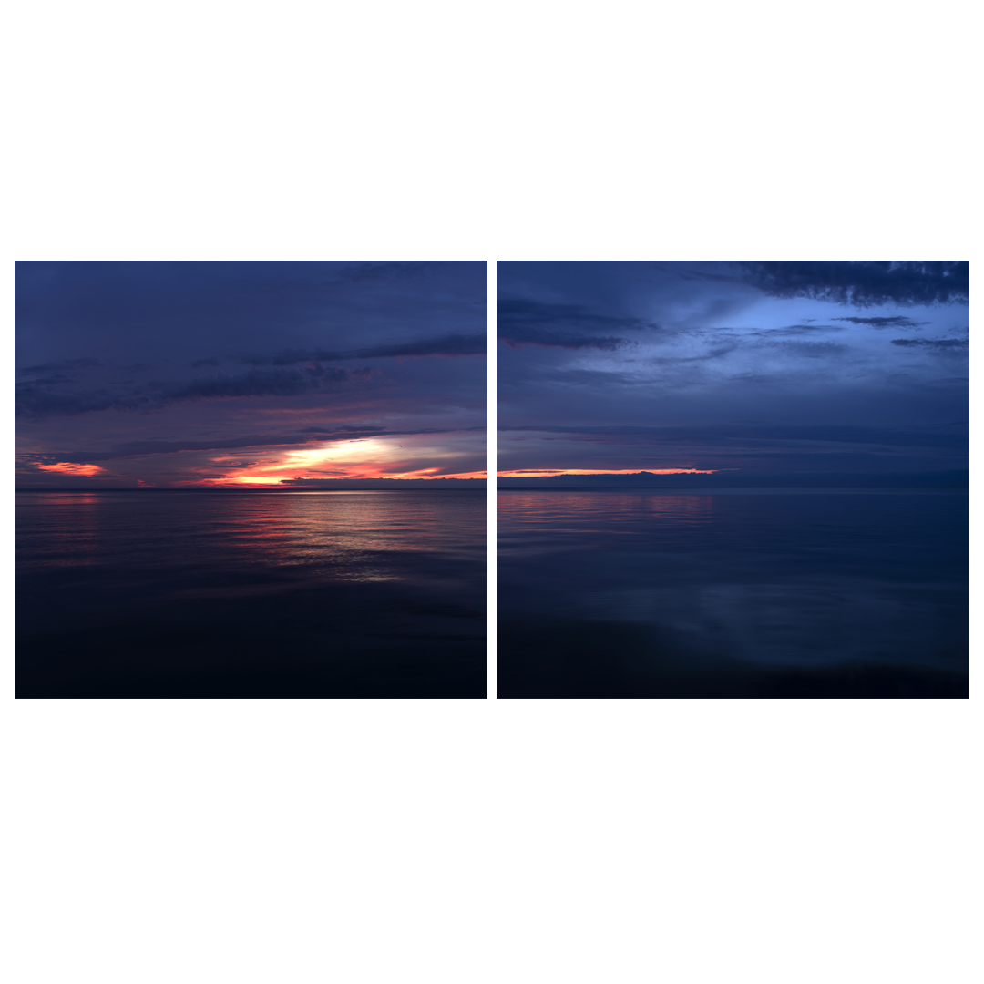 Lake Series Panoramas, May 5th 2016, is a diptych of Lake Michigan as the sun begins to rise early in the morning.