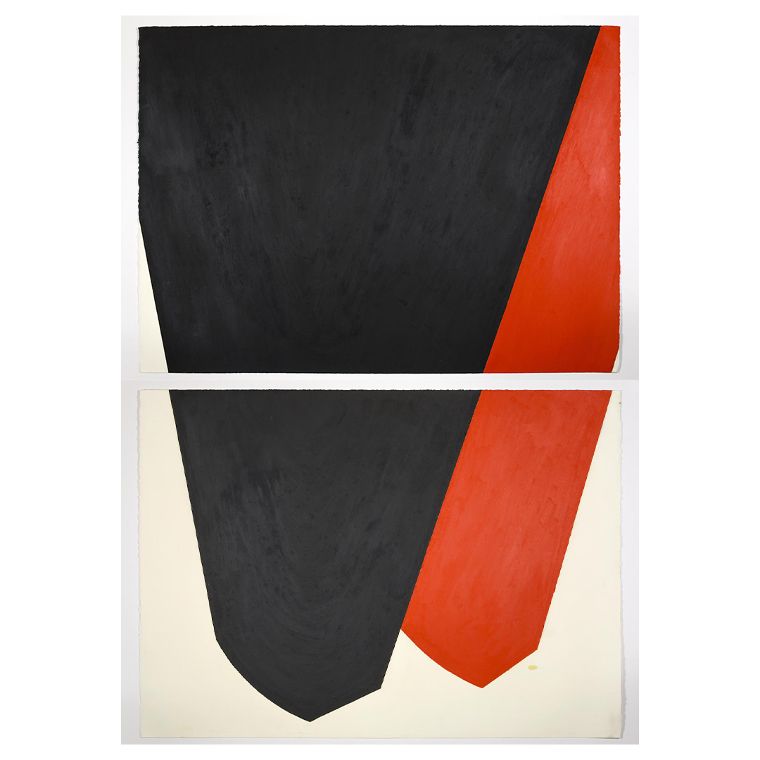an oilstick diptych, with two inverted mountain peaks, the one on the left in black, and red on the right