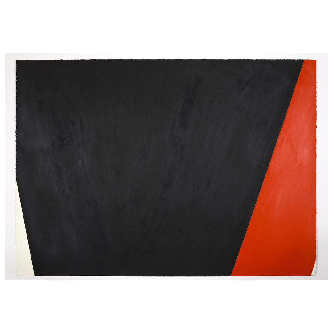 the upper half of an oilstick diptych, with two inverted cone-like shapes, the one on the left in black, and red on the right