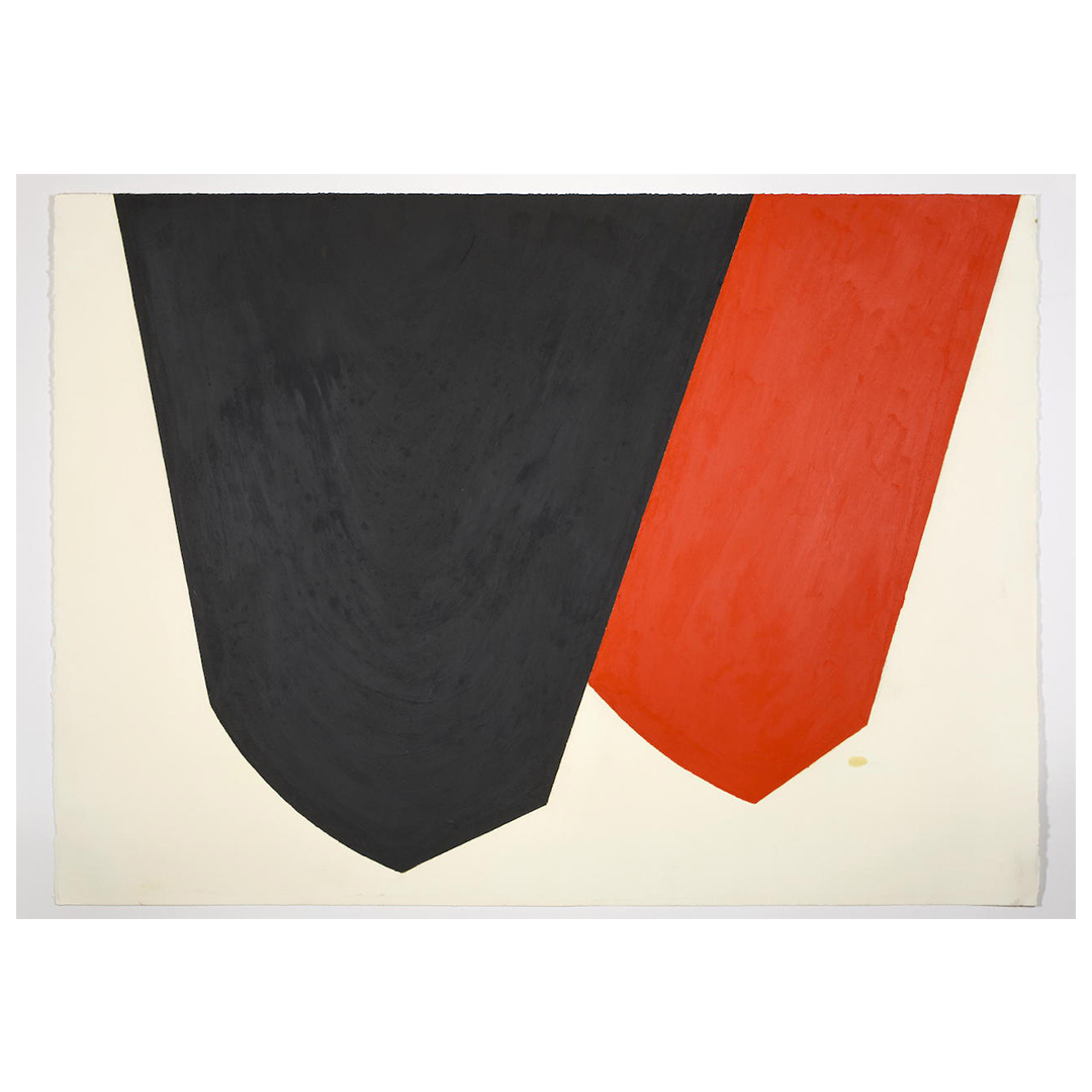 the lower half of an oilstick diptych, two inverted cone-like shapes, the one on the left in black, and red on the right