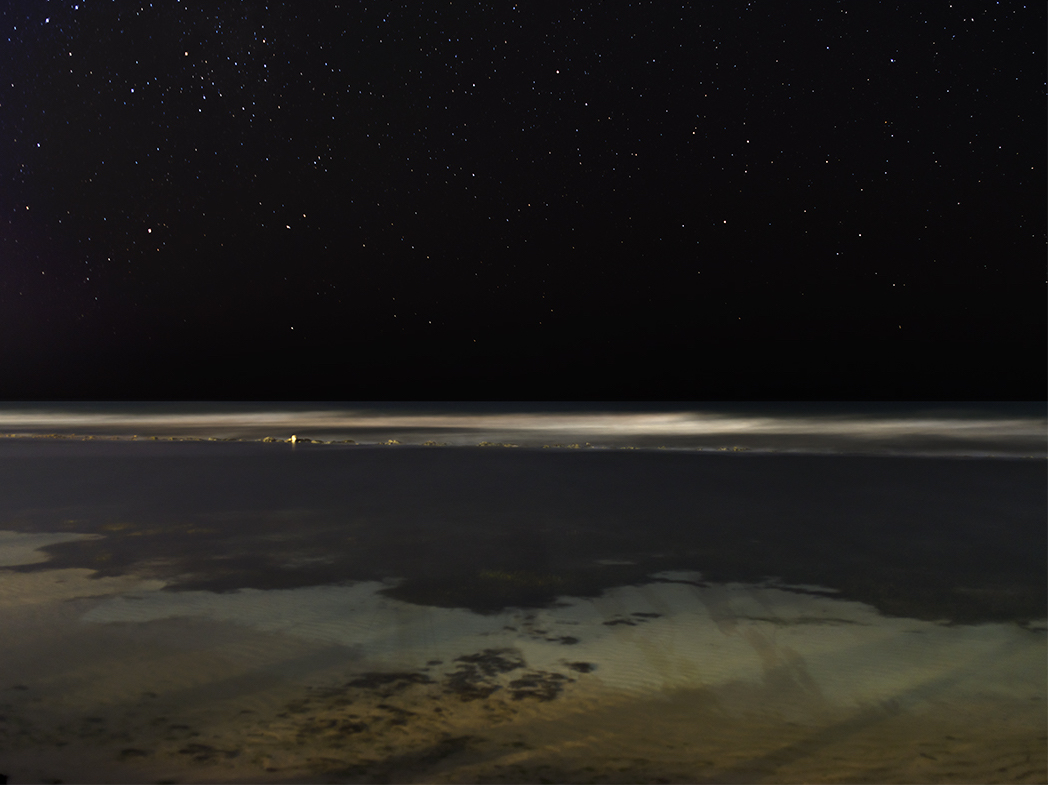 A Caribbean beach at night with a dark black sky, stars sparking and waters that are blurred and semi-transparent