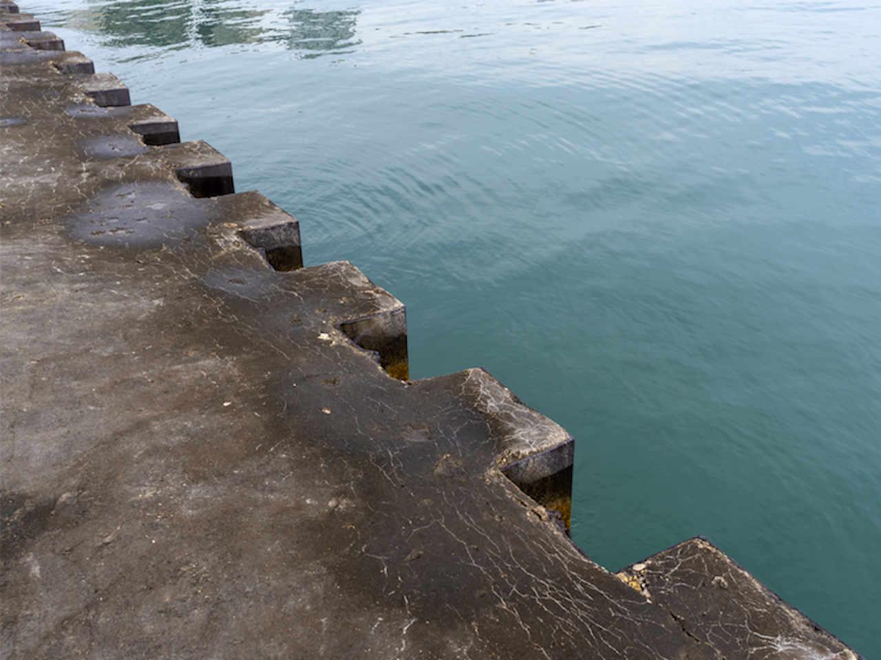 here in another photo from The Shore, a concrete wall, with serrated steel edge, cuts across the photo from lower right to upper left corner, the right half is filled with green blue lake waters