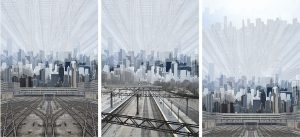 Chicago Renaissance by Liesel Olson, alternative book covers featuring overlaid photographs of the Chicago skyline from the South Loop area