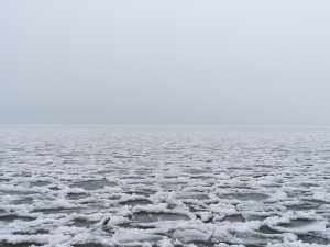 winter morning on the lake and it's foggy and heavy with condensation, the lake is frozen into a patchwork of gray and white, the sky a light gray color