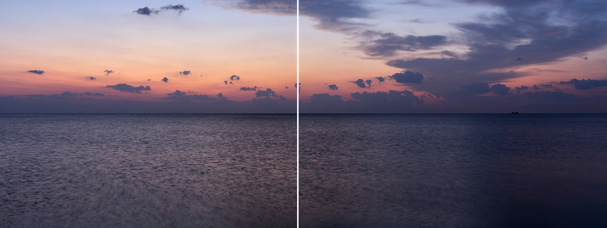 a Colorful Lake Sunrise where purple, peach, pastels and oranges all fill the sky where light cloud cover builds in the right side of the two photos, the lake ripples gently beneath