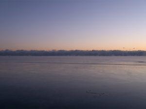 Beautiful Sunrise Colors in Lake Michigan featuring subtle purples and warm tones over a frozen lake surface