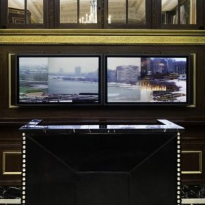 My City, Installed Blackstone Hotel lobby, two HD screens show an video artwork by Lincoln Schatz