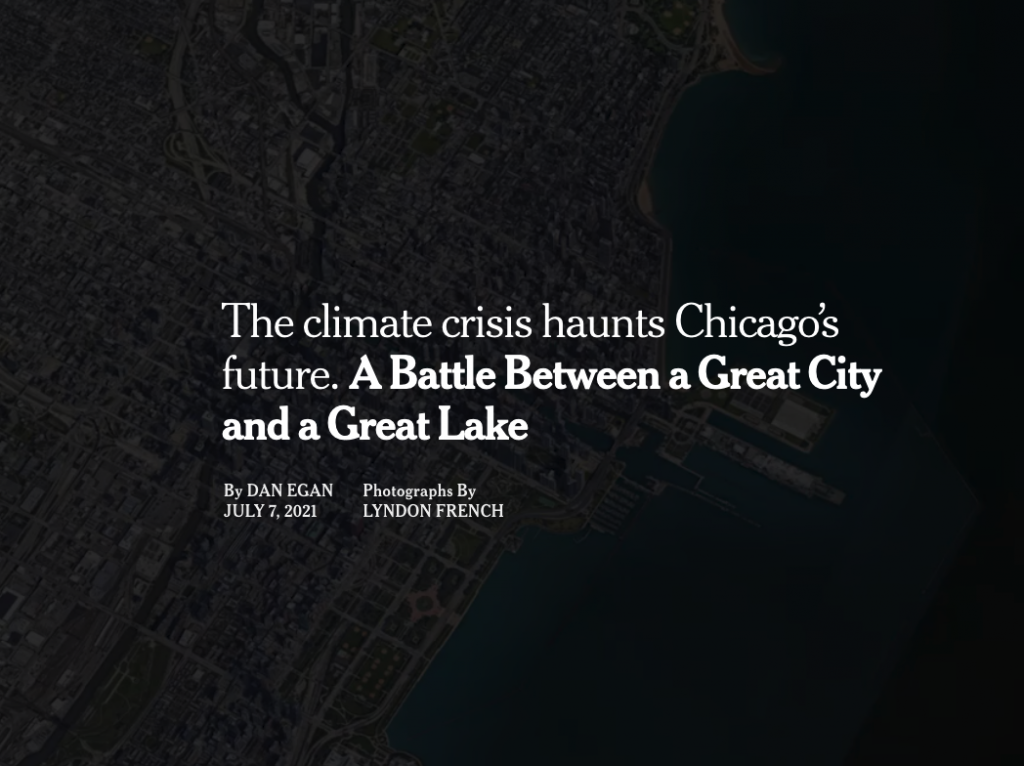 a screenshot of the article page on the NYTimes about climate crisis and Chicago in relationship to Lake Michigan