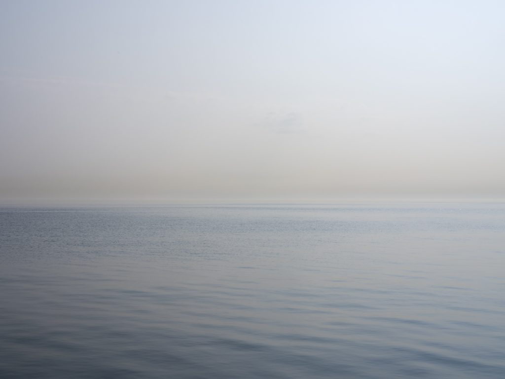 a haze on the lake on this morning